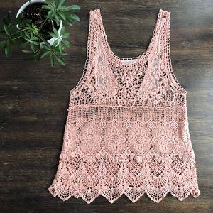 Love Tree boho festival pink knit lace crochet top